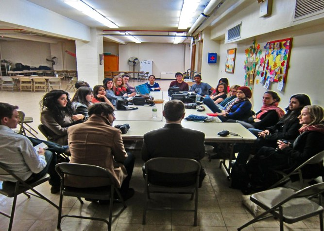 Journey Workshop with Columbia J-School students in a Brooklyn church basement