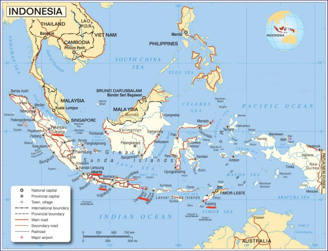 Map of Indonesia. Red lines indicate approximate location of photos.