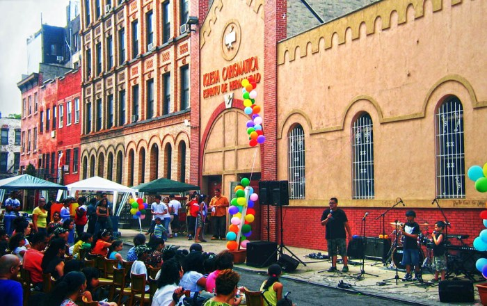 Providing summer entertainment for neighborhood kids at Spirit of Brotherhood Charismatic Church, 167 South 1st Street, Williamsburg. Photo: Tony Carnes/A Journey through NYC religions
