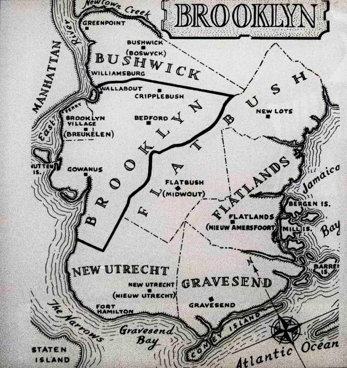 "The Brooklyn Eagle map of early Brooklyn boundaries is roughly correct through it modernized the spelling of Williamsburg which used to be spelled with an ""h"" at the end, 1946. Source: Brooklyn Historical Society."