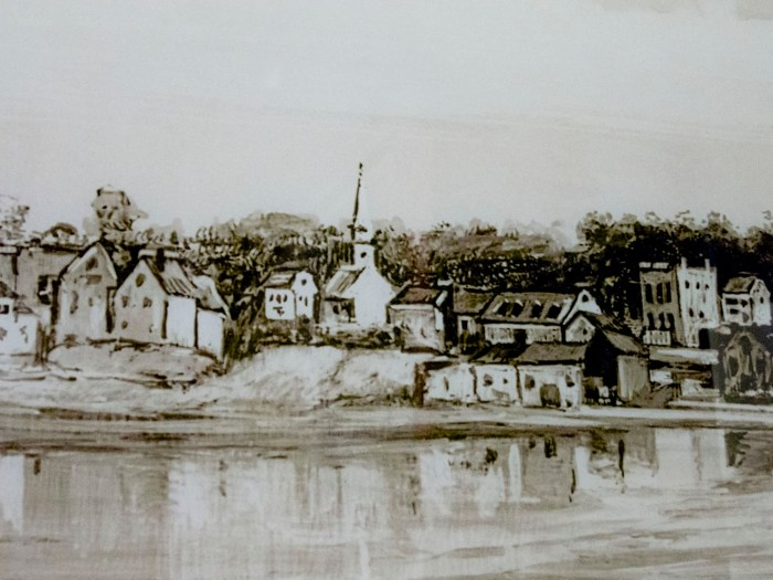 Williamsburgh, 1634. Illustration from Eugene L. Armbruster's Photographs & Scrapbooks. Source: Brooklyn Historical Society.