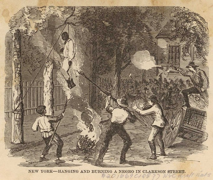 Hanging during Anti-Draft Riots. Source: New York Public Library Image Collection