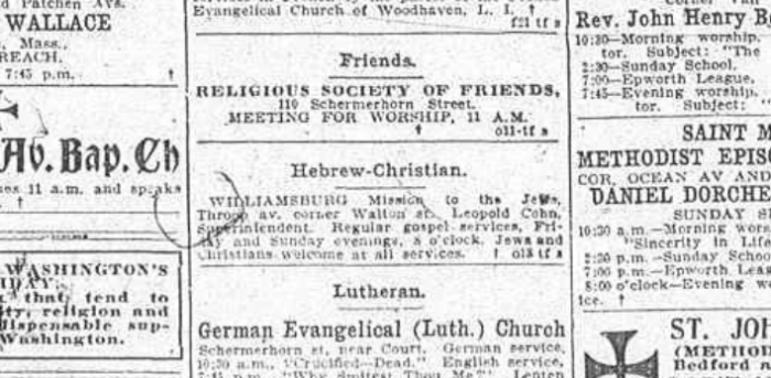 Newspaper ad for Williamsburg Mission for the Jews on Throop Avenue. Source: The Brooklyn Daily Eagle