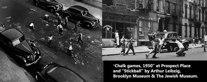 Games and stick ball clubs provided outlet of Brooklyn kids. Urban renewal & later gentrification drastically reduced clubroom space.