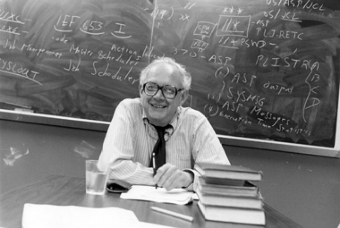 Irving Howe at his office circa 1989. Photo: Wayen Geist/CUNY