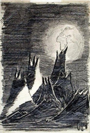 "On the space shuttle Columbia in 2003, Ilan Ramon, the son of Holocaust survivors, brought along this drawing, ""Moon Landscape,"" by Petr Ginz, who died at Auschwitz."
