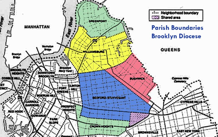 Detail from a map of Catholic parish boundaries in Brooklyn
