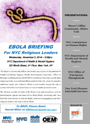Today, 5 pm! Mayor's Office Ebola briefing for religious leaders. RSVP: HMiller@cityhall.nyc.gov