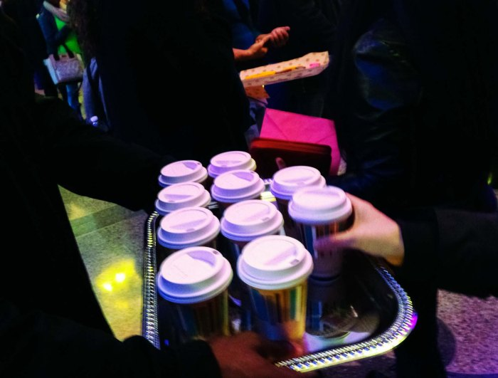 Hillsong NYC serves water to crowd waiting in line outside. Photo: Pauline Dolle/A Journey through NYC religions