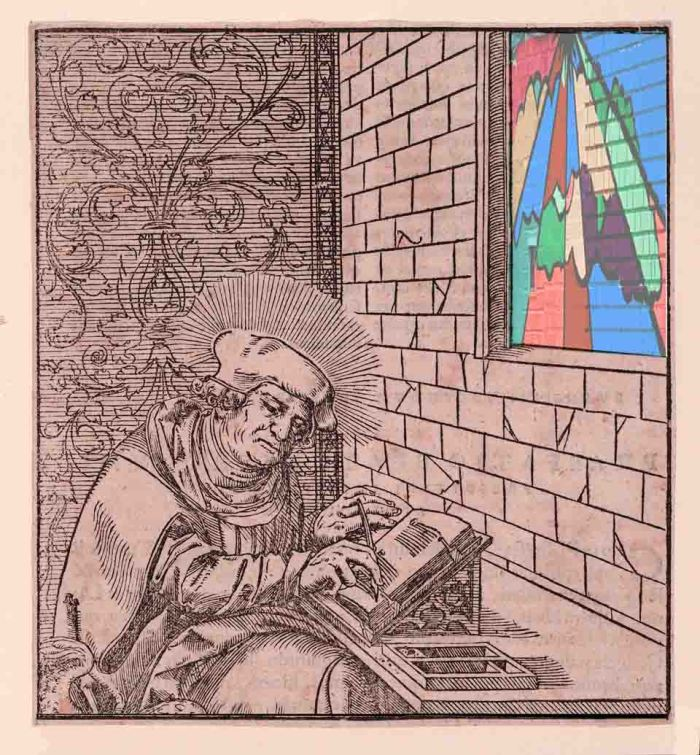 Luke, from The Four Evangelists and Three Apostles Sitting in Rooms, woodcut by Lucas Cranach the Younger at Museum of Metropolitan Art of New York, looking out onto street art next to Prince of Peace Missionary Baptist Church in Jamaica, Queens. Illustration by Tony Carnes/A Journey through NYC religions
