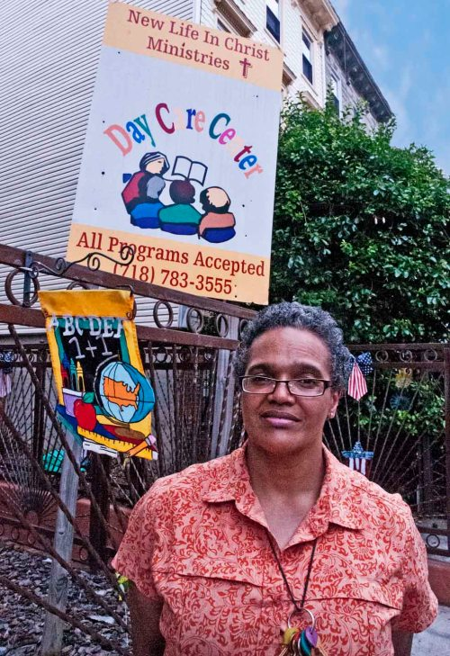 Charleston is a sign of spiritual warfare, Susan Sampson, New Life In Christ Ministries Day Care, Bedford-Stuyvesant, Brooklyn. Photo: Tony Carnes/A Journey through NYC religions