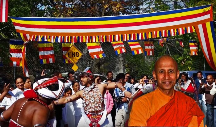 Abbot Bhante Kondanna in front of the ceremony for the breaking of Buddhist Lent at the end of last year. Photo illustration: A Journey through NYC religions
