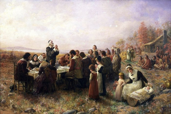 The First Thanksgiving At Plymouth by Jennie A. Brownscombe, 1914. Wikicommons