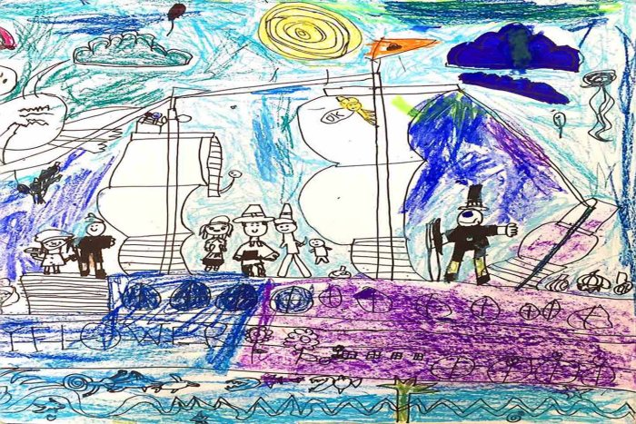 Pilgrims drawn by the kids of Creator's Voice