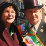 Dermot Sexton, a 50-year volunteer blows the whistle to start the New York City Saint Patricks Day Parade