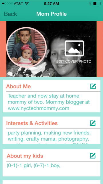 Find my profile on the MomCo App
