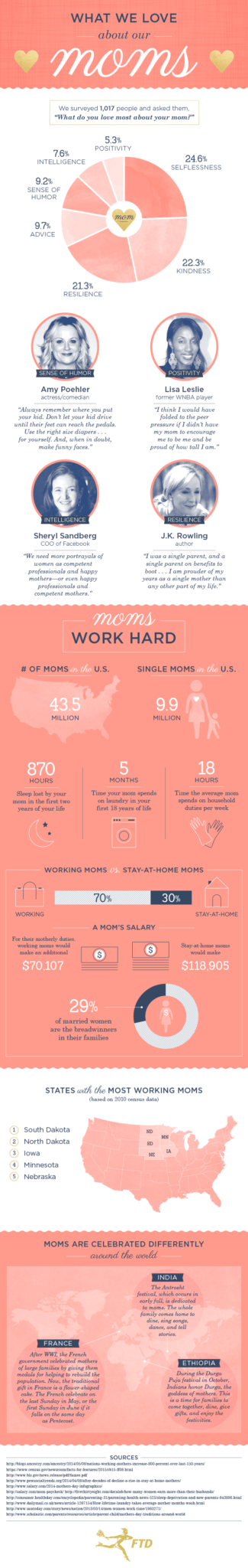 Why We Love Mom - This fun INFOGRAPHIC clearly illustrates what we love about our moms.