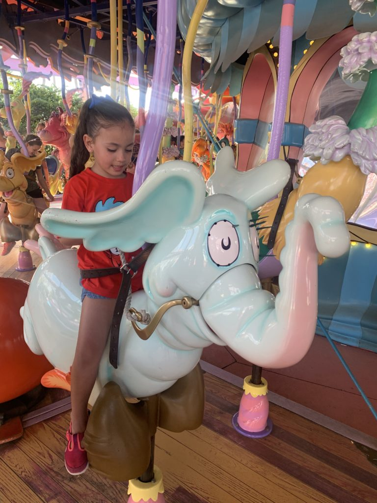 Fun creatures to ride at the Caro-Seuss-el merry-go-round at Seuss Landing