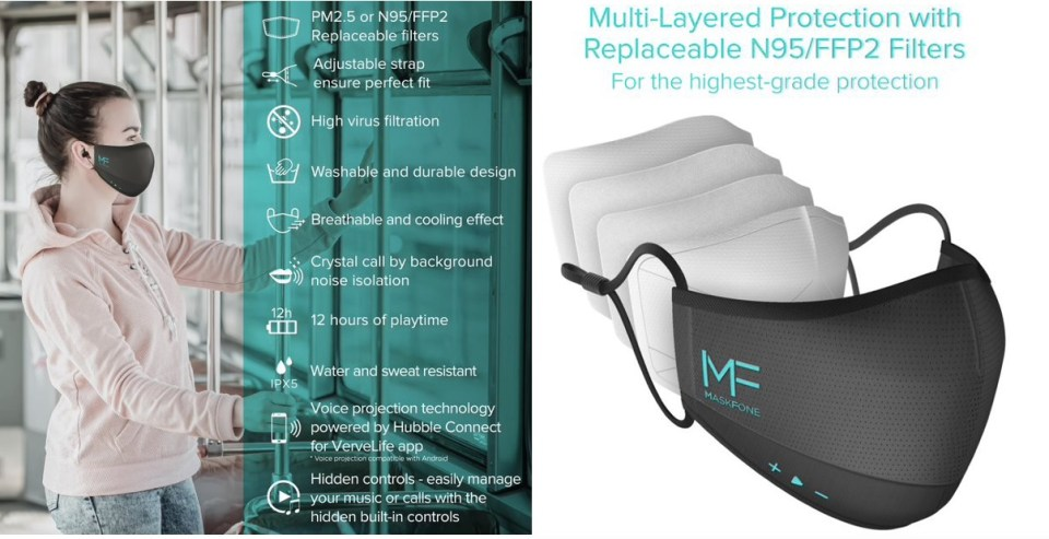 MaskFone - world's first face mask with built in earbuds...