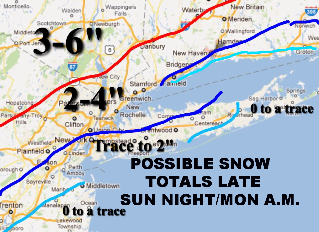 POSSIBLE SNOW NYC EARLY MONDAY