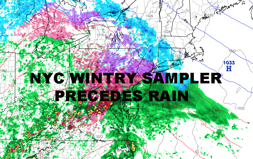 NYC WINTRY SAMPLER TOMORROW PRECEDES RAIN