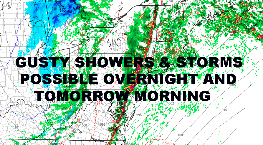 GUSTY NYC SHOWERS STORMS POSSIBLE OVERNIGHT AND TOMORROW