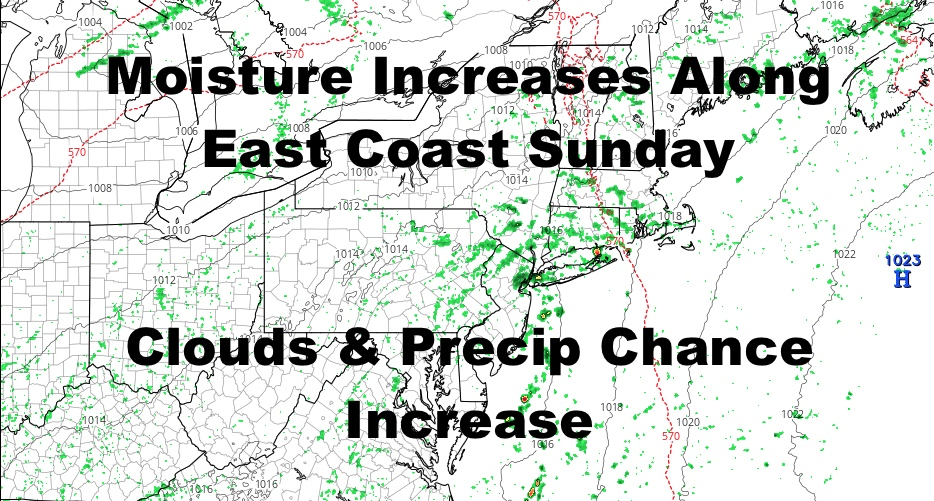 Moisture Increase Along East Coast This Weekend