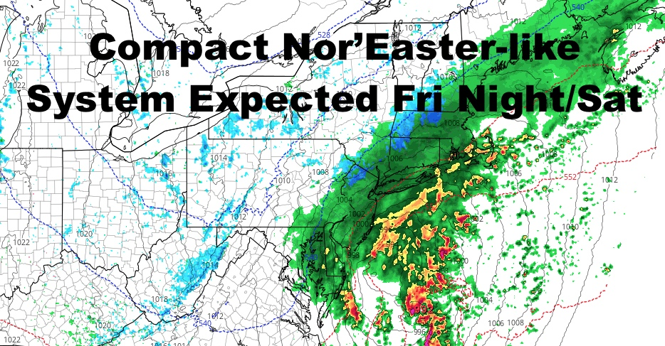 NYC Compact Nor'Easter Likely Tomorrow Night Into Saturday
