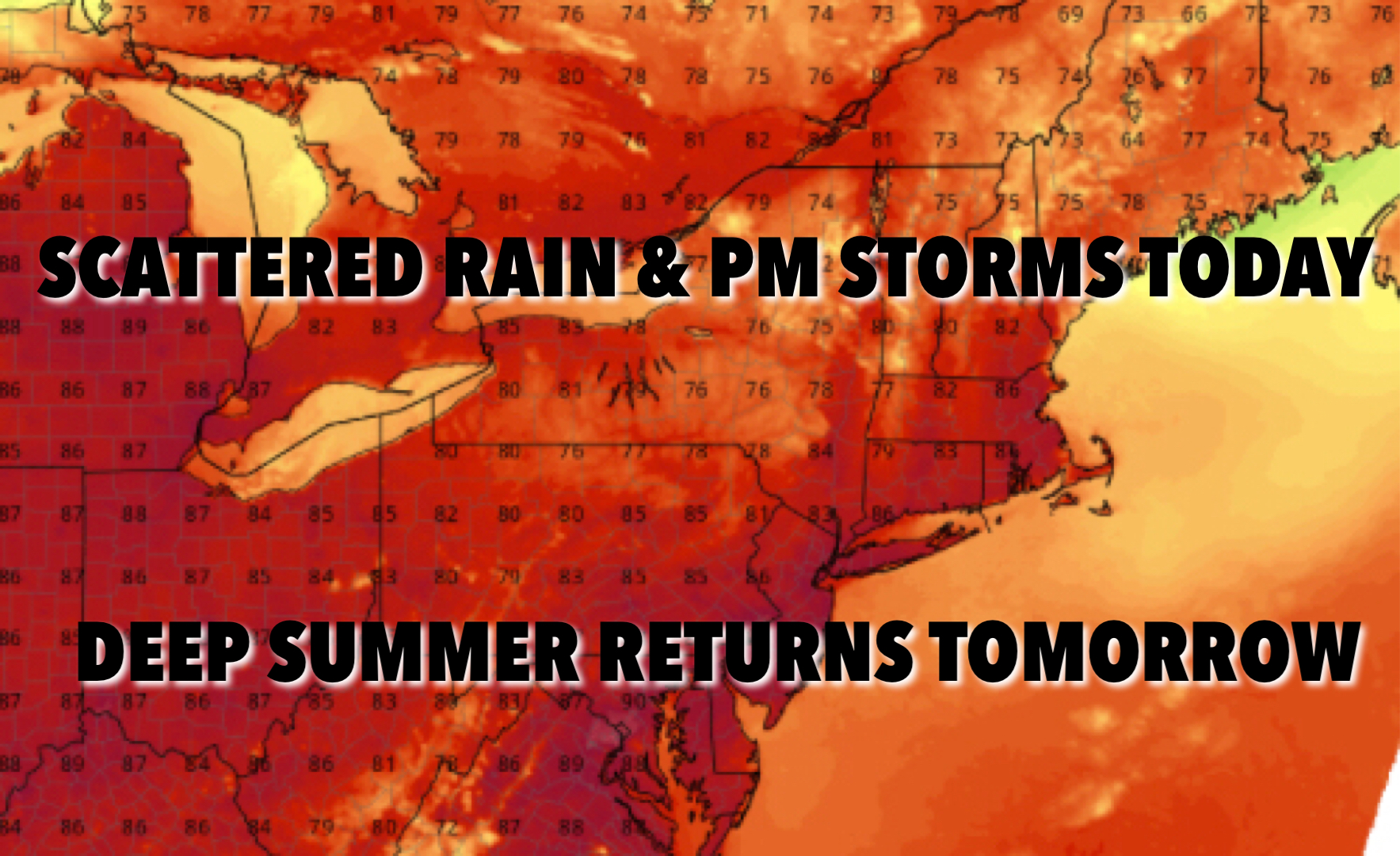 NYC PM Scattered Storms Today Heat Returns Tomorrow