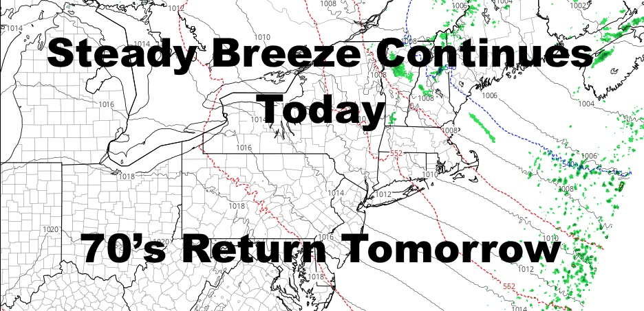 NYC Breeze Continues Today Very Mild Tomorrow