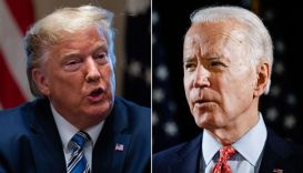 President Donald Trump and Democratic presidential candidate former Vice President Joe Biden speak about the coronavirus. (AP Photos/Evan Vucc and Matt Rourke)