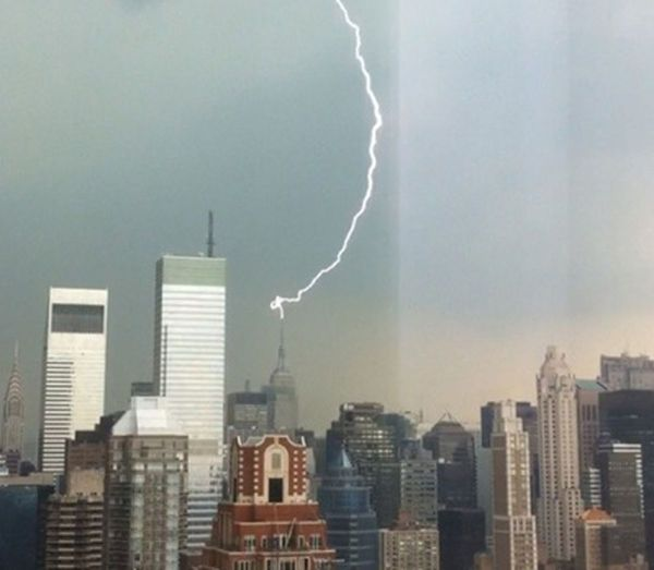 Lightning Strike Atop Empire State Building Punctuates Sweltering Day In City - And Promise Of