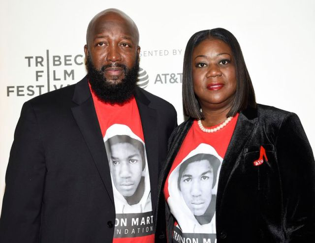 "Trayvon Martin's parents Tracy Martin, left, and Sybrina Fulton attend the Tribeca TV screening of ""Rest in Power: The Trayvon Martin Story"" at the 2018 Tribeca Film Festival in New York."