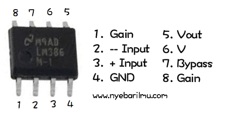 Pin Out LM386 - mini amplifier