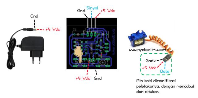 Percobaan rangkaian tester motor servo