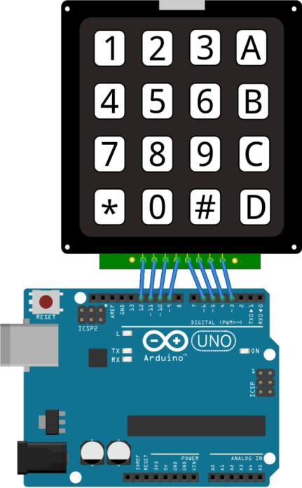 Rangkaian sederhana arduino dengan keypad