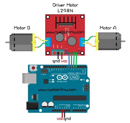 Skema rangkaian pengujian driver motor L298N menggunakan arduino uno
