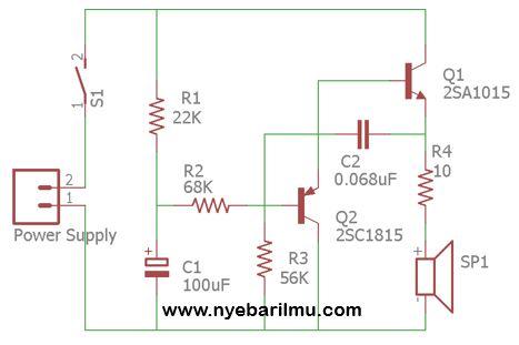 rangkaian alarm dengan menggunakan transistor
