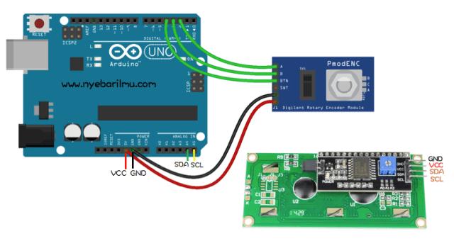 Rangkaian arduino uno dengan rotary encoder dan penampil lcd 16x2