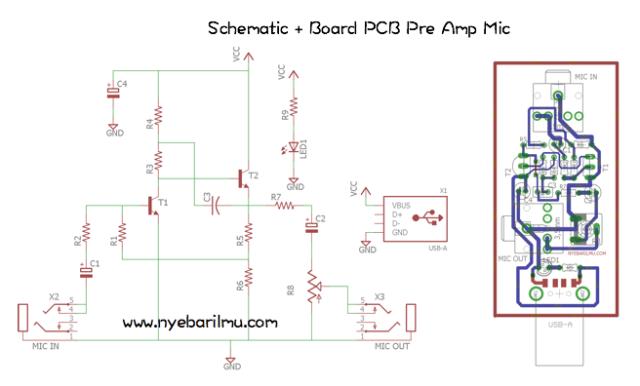 Rangkaian pre amp mic - schematic + board pcb