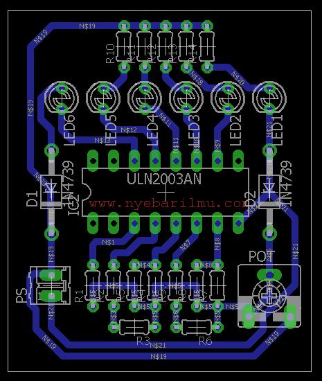 Rangkaian tester baterai 12v board