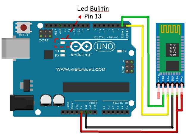 Skema rangkaian arduino mengakses bluetooth hc 05 dan LED