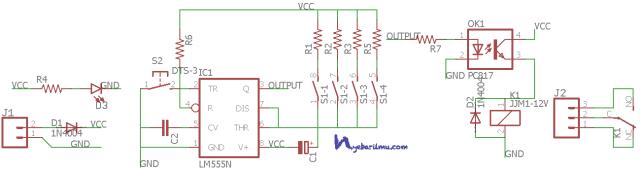 Rangkaian delay timer ic 555 - Schematic