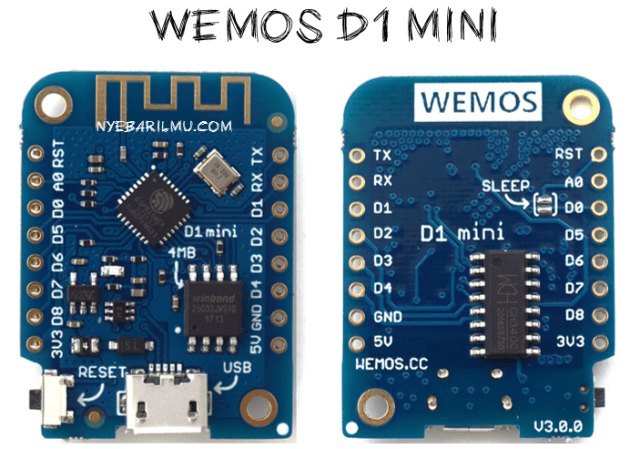 Wemos d1 mini - side front and back