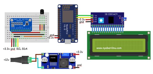 Rangkaian Nodemcu mengakses ADS1115 dengan penampil LCD 16x2