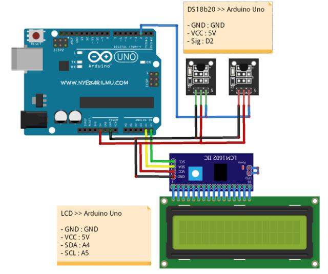 Rangkaian multiple Sensor suhu DS18B20 dan arduino uno
