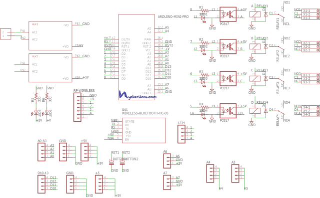 Schematic RF wireless 4 channel