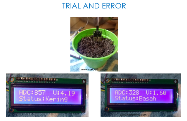 trial lcd display - ssensor kelembaban tanah arduino