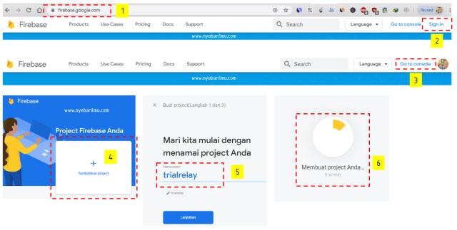 Settings google Firebase, tutorial iot ESP8266