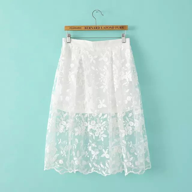Fashion women vintage Organza Embroidery Mini white Skirt Zipper casual brand designer quality skirts
